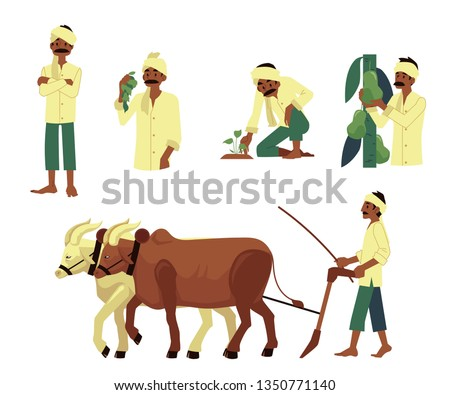Vector cheerful indian farmer set. Barefood man plowing field by cows, harvest pears, planting seedling with traditional headscarf at head. Rural india, pakistan or bangladesh village characters