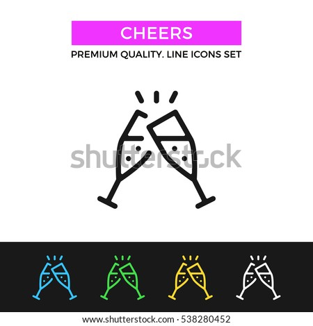 Vector cheers icon. Clinking glasses with champagne. Celebration, toast concepts. Premium quality graphic design. Signs, symbols, thin line icons set for websites, web design, mobile app, infographics