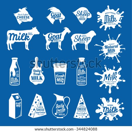Vector cheese and milk logo. Dairy products, farm animals icons and milk splashes