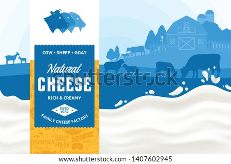 Vector cheese illustration with rural landscape, cow, sheep and goat for groceries, packaging and advertising. Modern style cheese label. Realistic milk splash. Dairy farm or farming design elements.