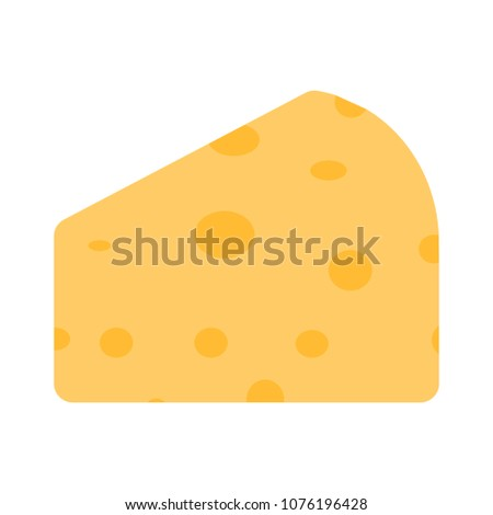 vector Cheese illustration - yellow cheddar, breakfast or snack symbol