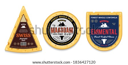 Vector cheese labels and packaging design elements. Detailed cheese illustrations