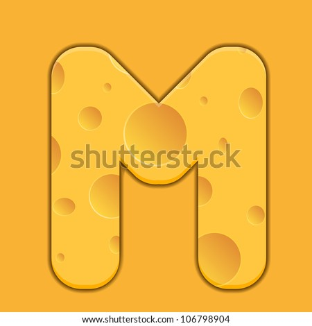 Vector cheese letter M on orange background. Eps 10
