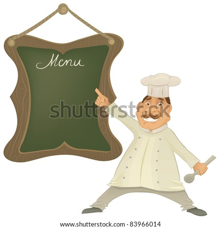Vector chef illustration character with menu on wooden frame green board. Funny Cook is pointing and holding spoon.