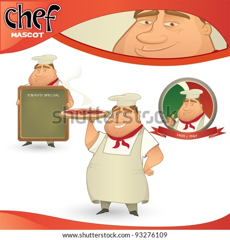 Vector chef - Italian restaurant mascot. Cartoon character with menu board, pizza and badge