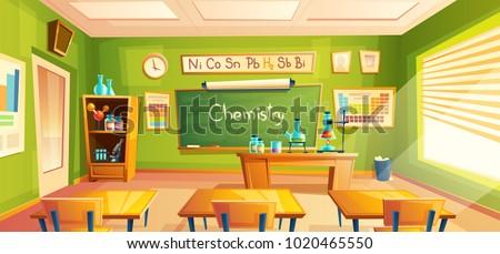 Vector chemistry room, school laboratory, classroom interior. Educational concept, chemical experiments, cabinet furniture, blackboard, desks, school supplies. Illustration for advertising web