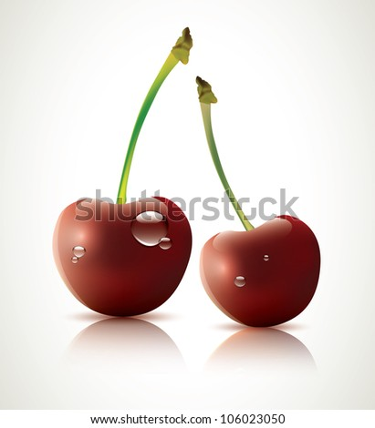 Vector cherries with water drops