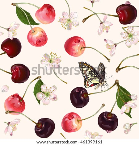 vector cherry seamless pattern