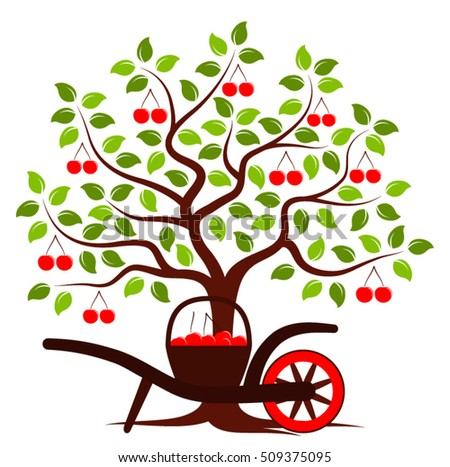 vector cherry tree and hand
