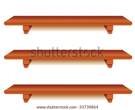 vector - Cherry Wood Shelves, Horizontal: 3 wide  shelves with brackets; add your favorite treasures. EPS8 organized in groups for easy editing. - stock vector