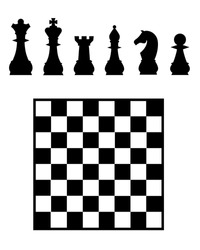 Vector chess board and pieces