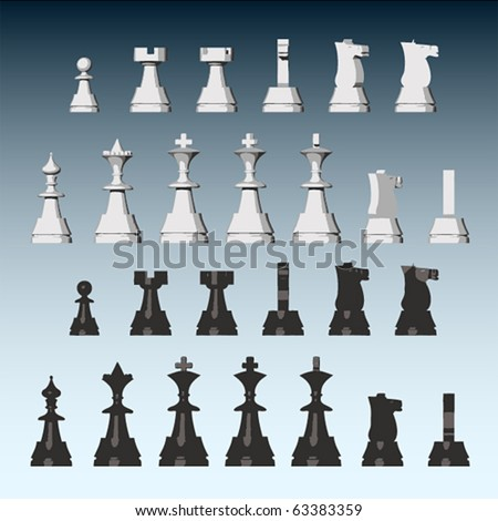 Vector chess pieces from different views - stock vector