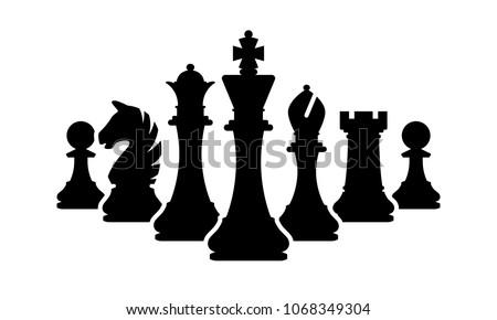 vector chess pieces team