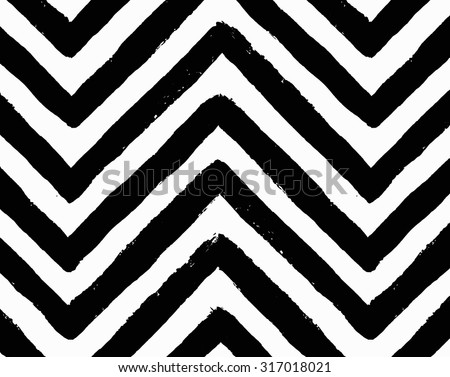 Vector chevron seamless pattern. Textured grunge geometric background for wallpaper, gift paper, fabric print, furniture. Zigzag print. Unusual painted ornament from brush strokes. Black and white. - Shutterstock ID 317018021