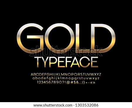 Vector chic Golden Font. Glossy Alphabet Letters, Numbers and Symbols.