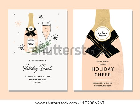 Vector Chic Holiday Cards. Holiday Party Card Template bundle. Holiday Bash Templates Design. Christmas Party card featuring drinks and champagne bottle.
