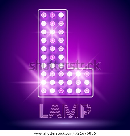 Vector chic light up Alphabet set. Luxury Graphic Font. Letter L