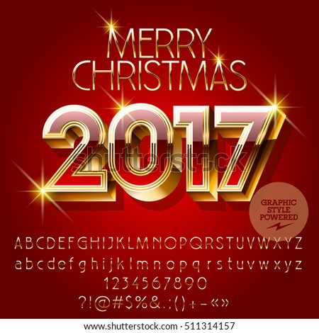 Vector chic red Happy New Year 2017 greeting card with set of letters, symbols and numbers. File contains graphic styles #511314157