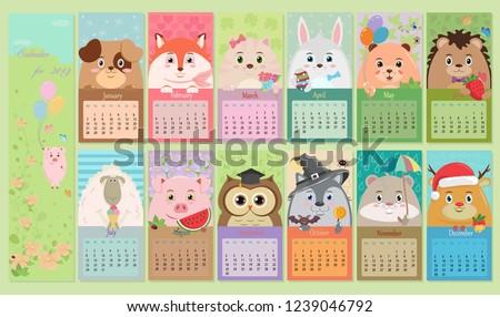 Vector children calendar for 2019 with animals.