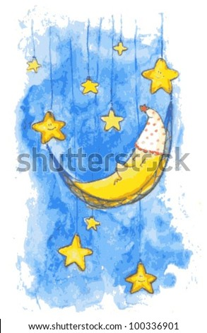 Vector Children Illustration with Moon and Stars