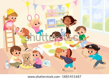 vector children play together
