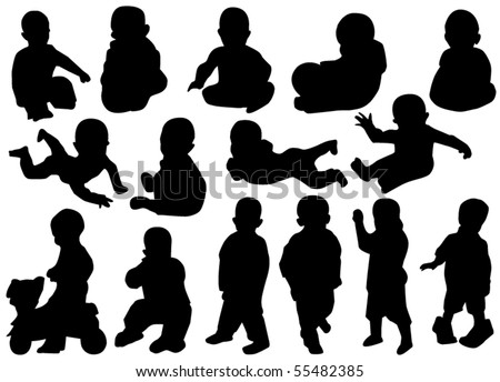 vector children silhouettes