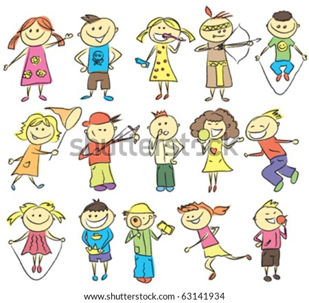 vector children sketch with many kids doing something