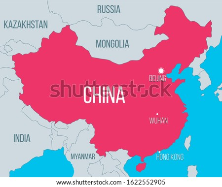 Vector China map illustration with emphasis on Wuhan city