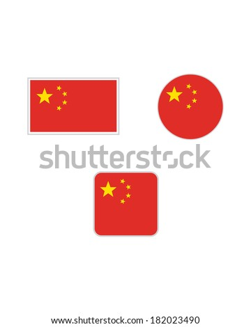 vector chinese flag and icon set