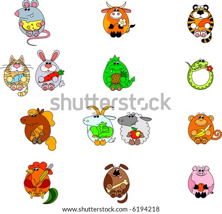 Vector Chinese zodiacs. This image is a vector illustration and can be scaled to any size without loss of resolution. You will need a vector editor to use this file.