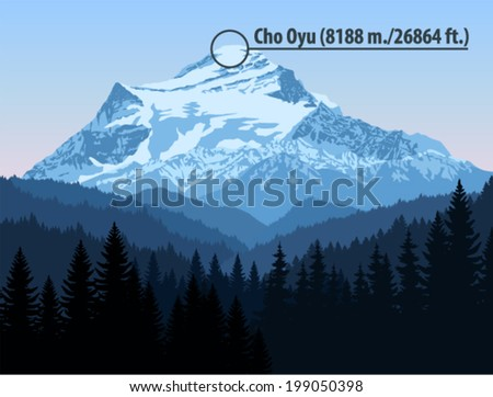 vector cho oyu mountain is the