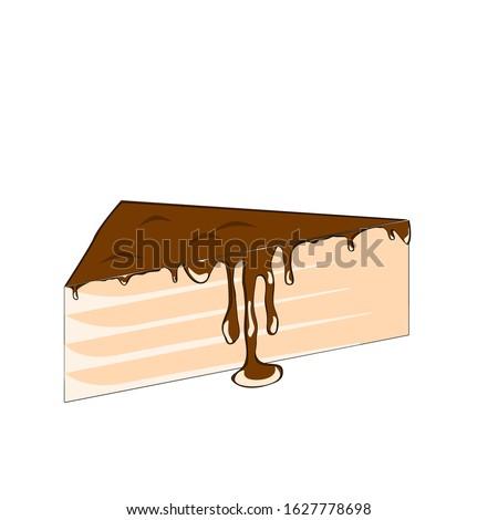 Vector chocolate cake slice with glaze