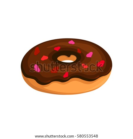 Vector chocolate donut icon; Donut with chocolate topping and dusting powder in the form of hearts for bakery menu, for Valentine's Day, for gift.