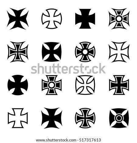 vector chopper crosses icon set