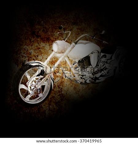 vector chopper motorbike on a