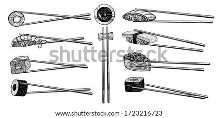 Vector chopsticks with sushi rolls, black line drawing. Asian kitchen elements with maki, uramaki roll, nigiri, tamago, soy sauce and wooden chopsticks isolated on white background.