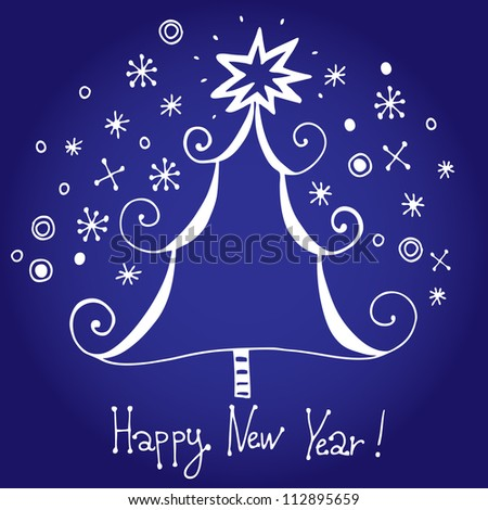 "Vector chrismas card ""Happy new year!"" with christmas tree and snowflakes"
