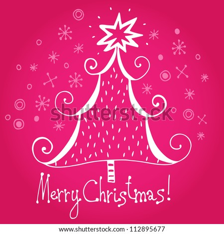 "Vector chrismas card ""Merry christmas!"" with christmas tree and snowflakes"