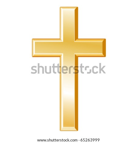 vector - Christian Symbol.  Golden cross, symbol of the Christian faith on a white background. EPS8 compatible.