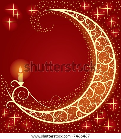 Vector Christmas & New-Year's card with a moon and a light - stock vector