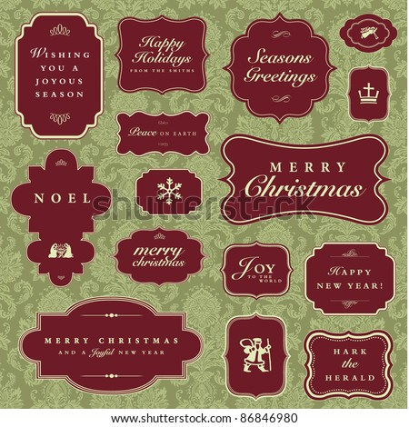 Vector Christmas and Holiday Frame Set. Easy to edit. Pattern is a seamless swatch. Perfect for greeting cards, invitations and announcements.
