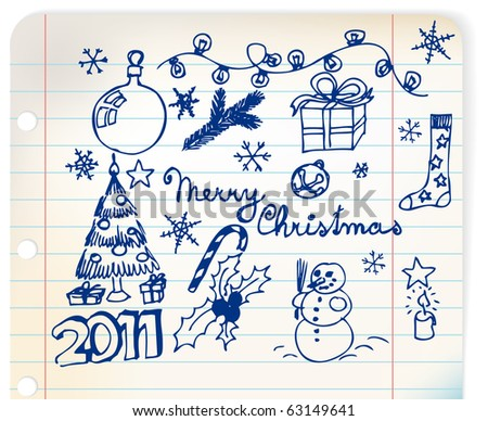 Vector Christmas and New Year doodle illustrations on linked paper