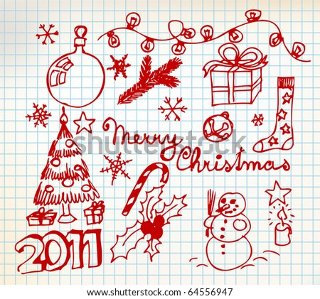 Vector Christmas and New Year doodle illustrations on squared  paper