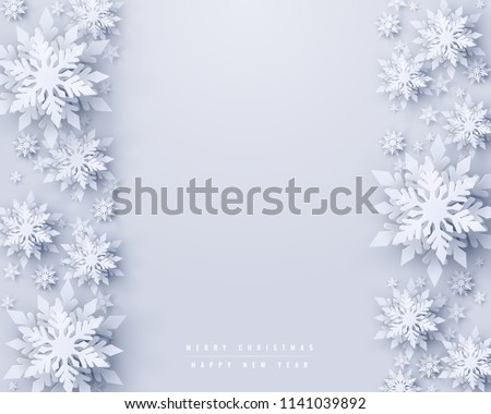 Vector Christmas and new year holidays background with realistic looking paper craft snowflakes. Seasonal wishes Merry Christmas and Happy New Year