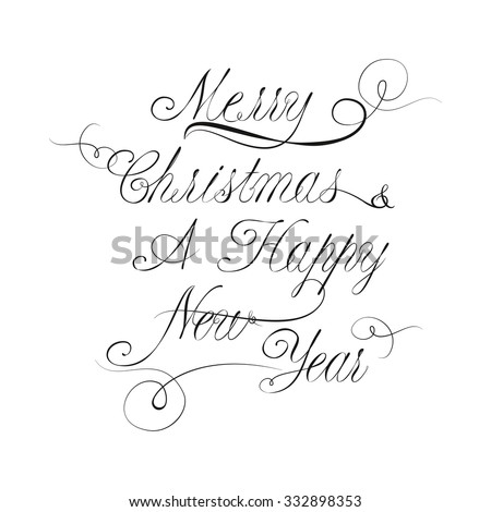 Vector Christmas And New Year Lettering In Victorian