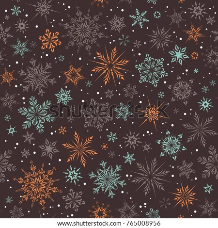 Vector Christmas and New Year seamless pattern with snowflakes.