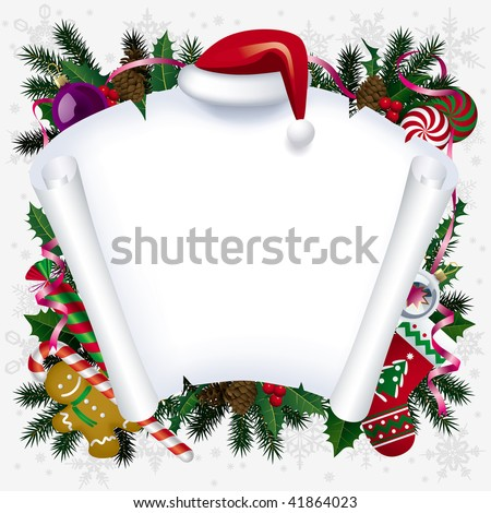 Vector Christmas and  New Year white banner - stock vector