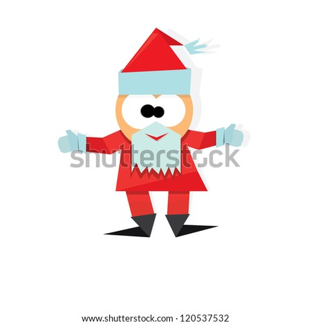 vector christmas background. cut paper design. merry christmas card with santa claus, cut paper design.