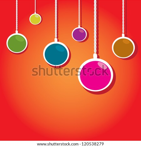 vector christmas background. cut paper design . vector christmas ball. red xmas card