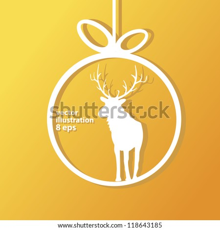vector christmas background. vector christmas deer. christmas brochure with stars. cut paper.